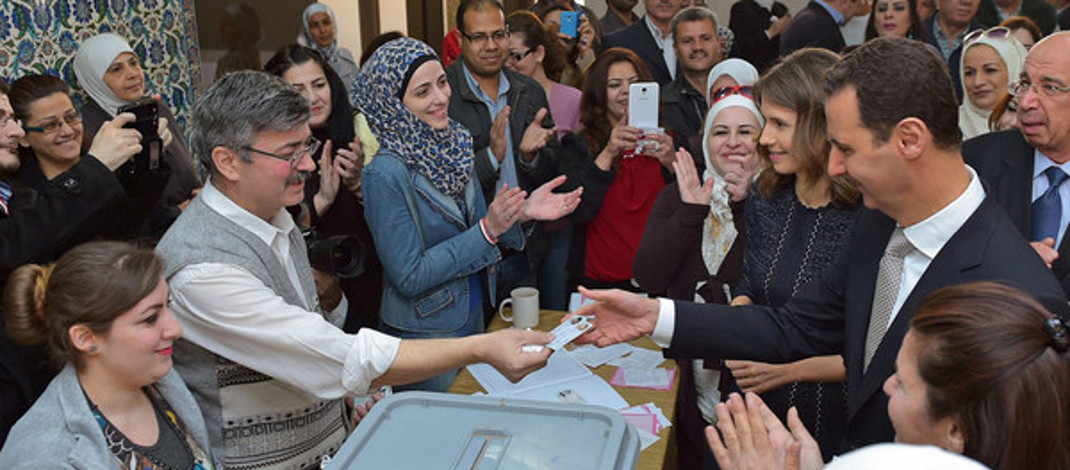 Mr. and Ms. Bashar and Asma Assad cast their votes in 2016.