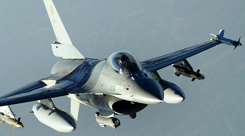 A Belgian military F-16 Fighting Falcon conducts a combat patrol over Afghanistan Dec. 12, 2008.