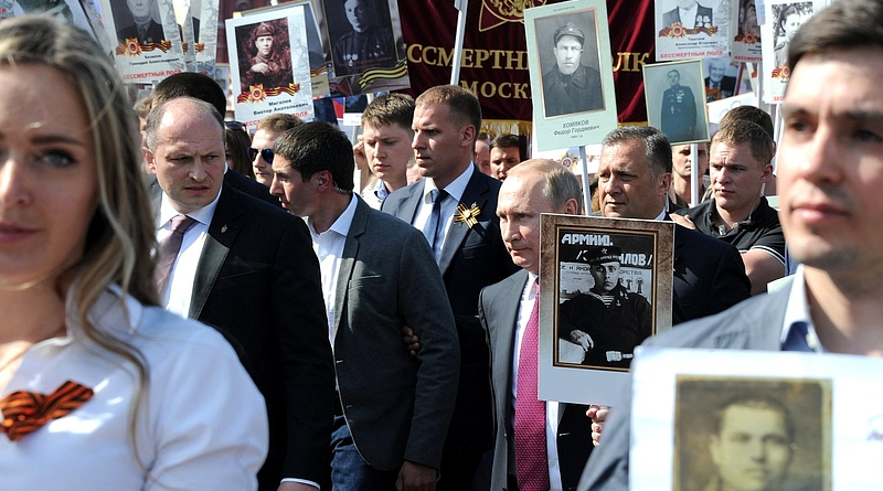 Putin Walking with the Immortal Regiment